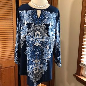 ROZ&ALI scarf print flare sleeve stretch tunic top